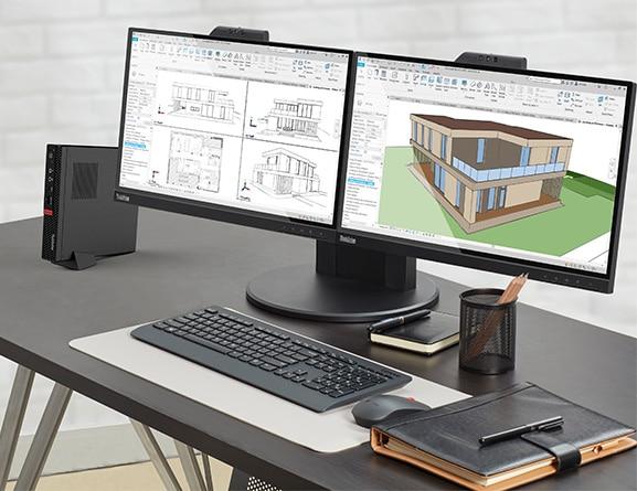 thinkstation P330 lenovo workstation em cima de mesa com software para engenharia