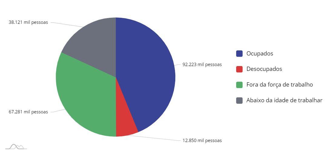 População brasileira, de acordo com as divisões do mercado de trabalho, 1º trimestre 2020