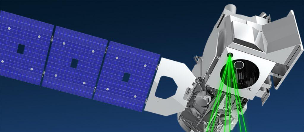ICESat-2 - imagem ilustrativa do satélite de altimetria de gelo, terra e nuvem da NASA