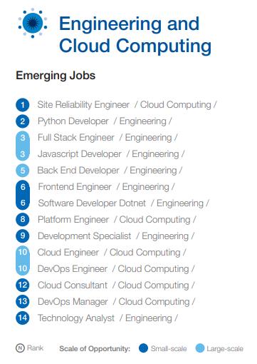 Ranking de trabalhos emergentes para a área de engenharia e computação em nuvem. Fonte: McKinsey & Company