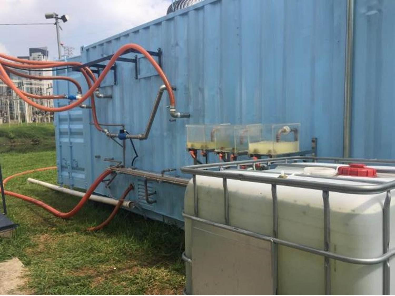 Container contendo equipamentos usados para geração de nanobolhas em pesquisa como alternativa para despoluição do rio Pinheiros