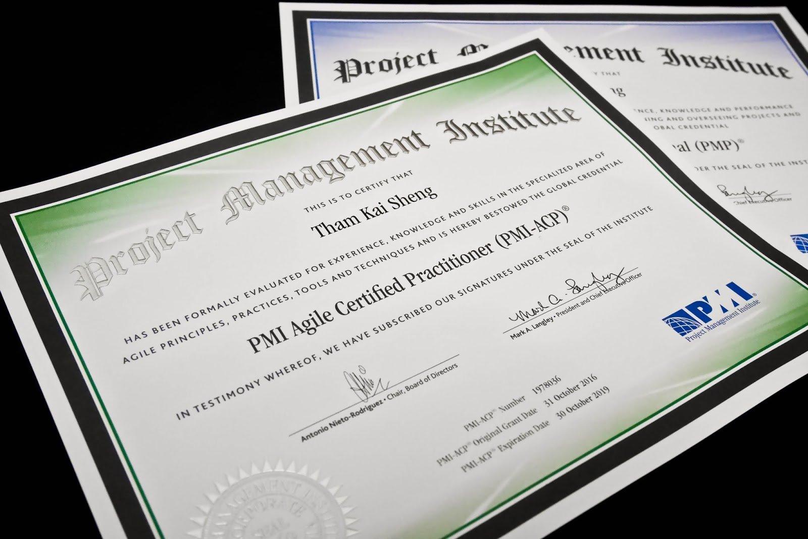 Certificados profissionais do PMI