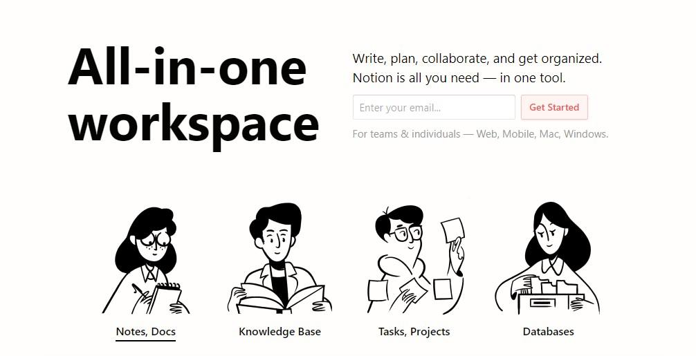 Imagem da página web da Notion Labs que mostra os recursos oferecidos pelo aplicativo de produtividade.