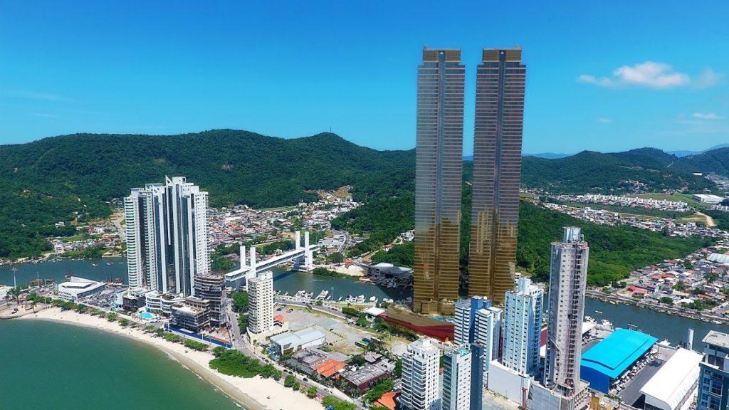 Imagem virtual do arranha-céu yachthouse em Santa Catarina
