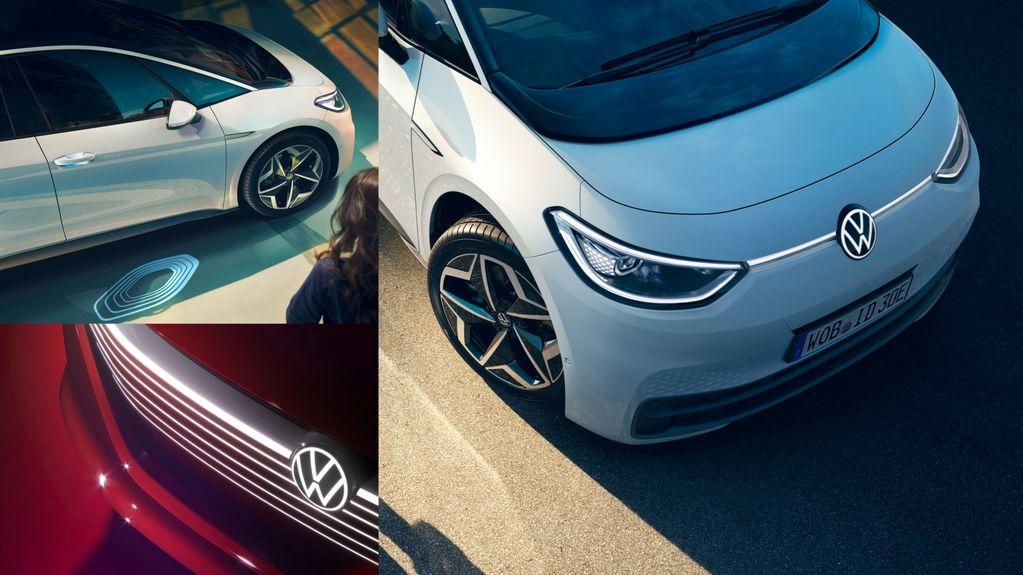 A imagem apresenta três fragmentos de imagens, todas com a frente do ID.3. Uma com o veículo em vermelho e as outras duas com ele em branco.
