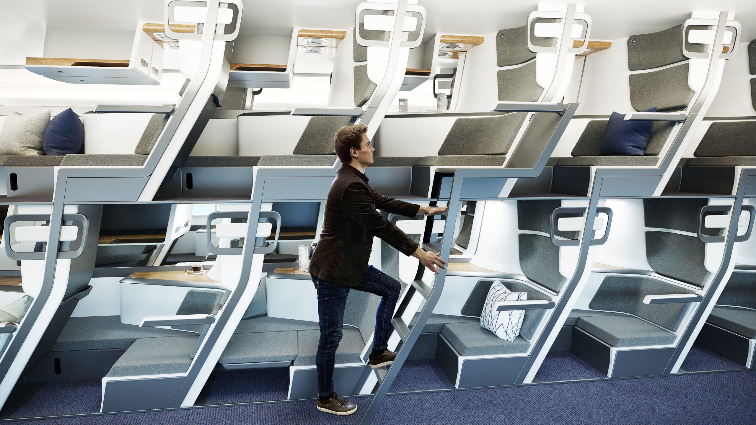 Empresa propõe design double-decker para mais conforto de passageiros em aviões