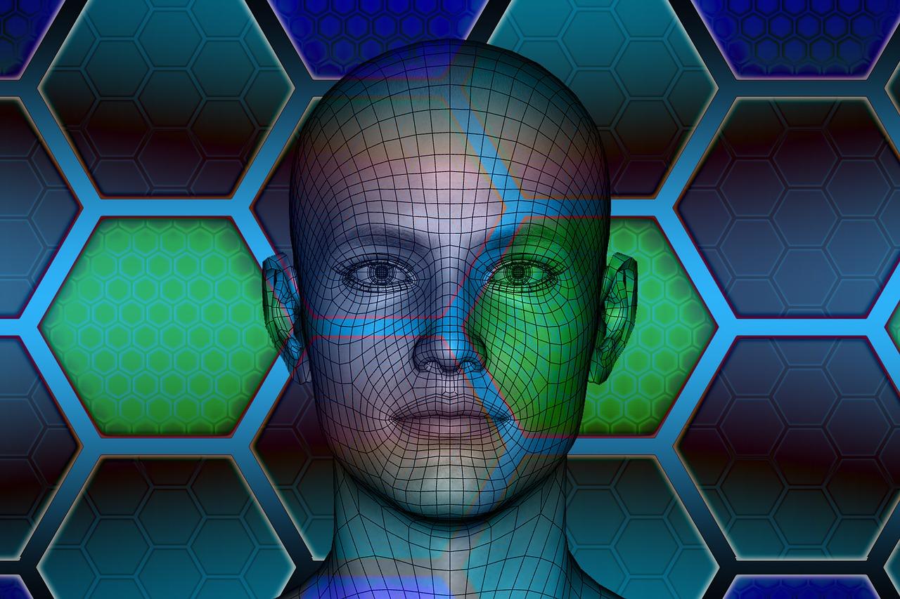 Reconhecimento facial representado por imagem de rosto humanoide sendo escaneada.