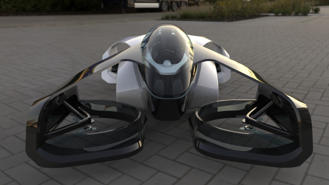 Carro voador do modelo denominado SD-XX, que se assemelha a um drone e tem como principal característica seu pequeno tamanho