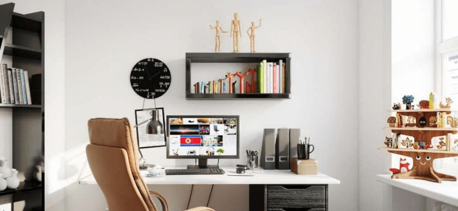 Espaço para home office totalmente harmonizado e organizado