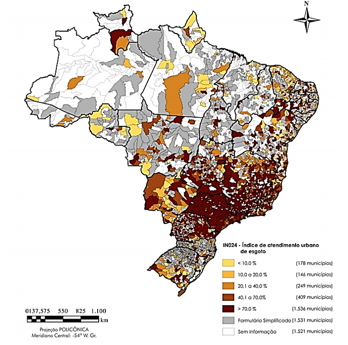 Mapa brasileiro de índice de atendimento urbano de esgoto, relacionado ao saneamento