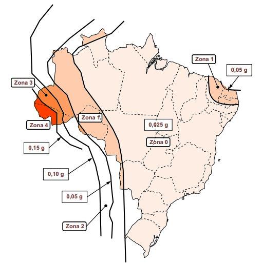 Zoneamento sísmico brasileiro em função da aceleração sísmica horizontal característica no Brasil para terrenos de classe B. Imagem: Autor, adaptada de ABNT.