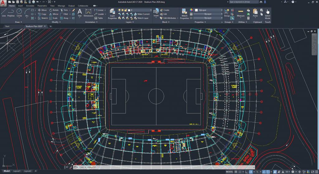 imagem de planta de estádio de futebol feita no autocad