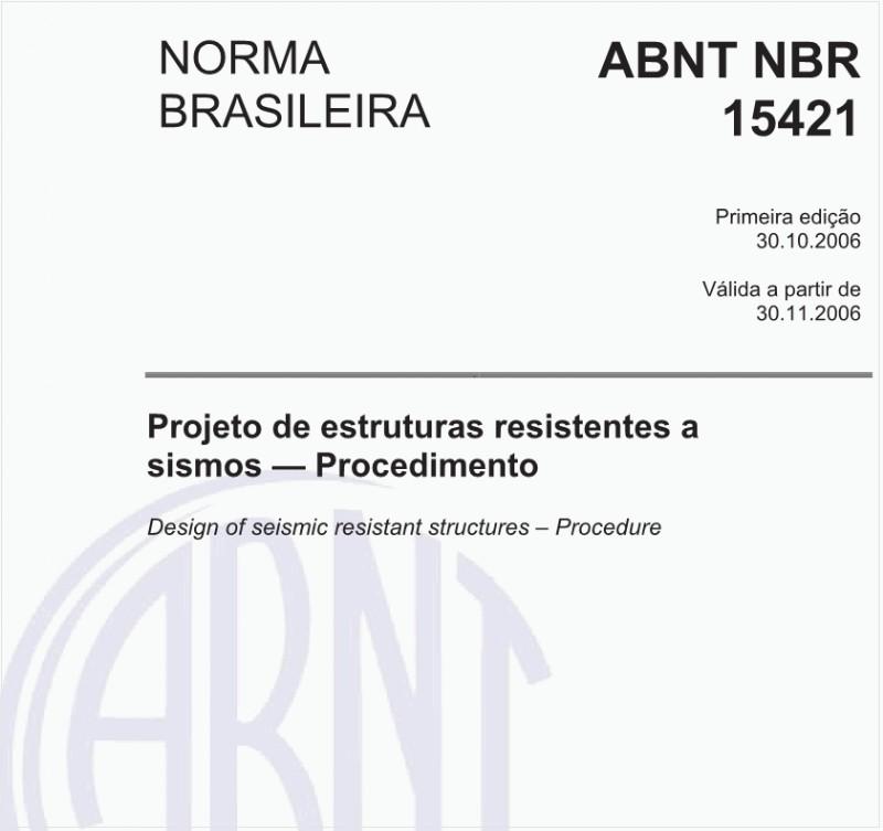 Capa da norma brasileira de projetos resistentes a sismos (NBR 15421).