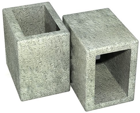 imagem ilustrativa de meio bloco de concreto estrutural