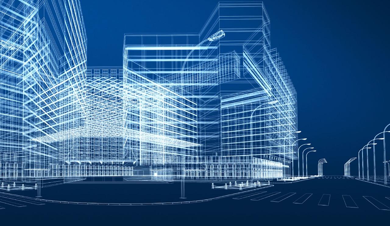 ilustração de prédios em rua visualizados com BIM, ferramenta da construção civil
