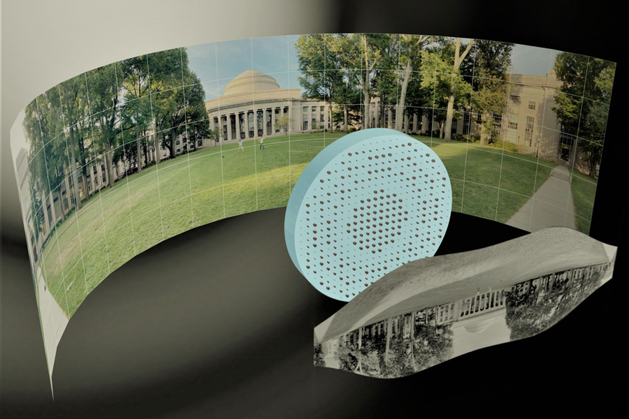 Ilustração artística 3D das metalentes de amplo campo de visão capturando um panorama de 180 ° da Killian Court do MIT e produzindo uma imagem plana monocromática de alta resolução. Imagem: Mikhail Shalaginov, Tian Gu, Christine Daniloff, Felice Frankel, Juejun Hu