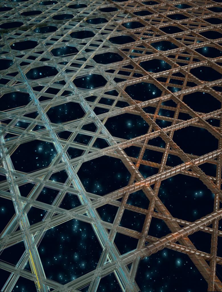 Renderização composta que faz a transição de um esqueleto de esponja vítrea à esquerda para uma estrutura à base de vergalhão soldada à direita, destacando a natureza biologicamente inspirada da pesquisa. (Imagem cortesia de Peter Allen, Ryan Allen e James C. Weaver / Harvard SEAS)