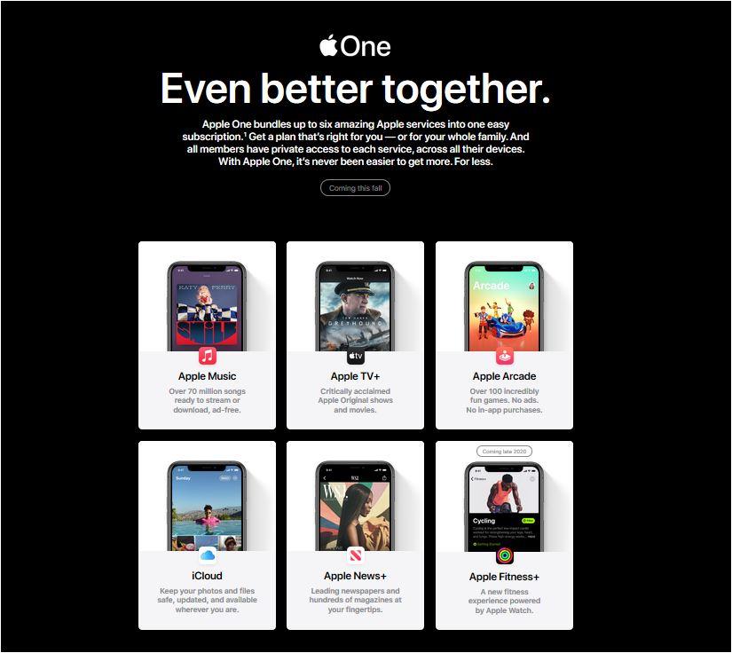 imagem ilustrativa dos pacotes contidos no Apple One