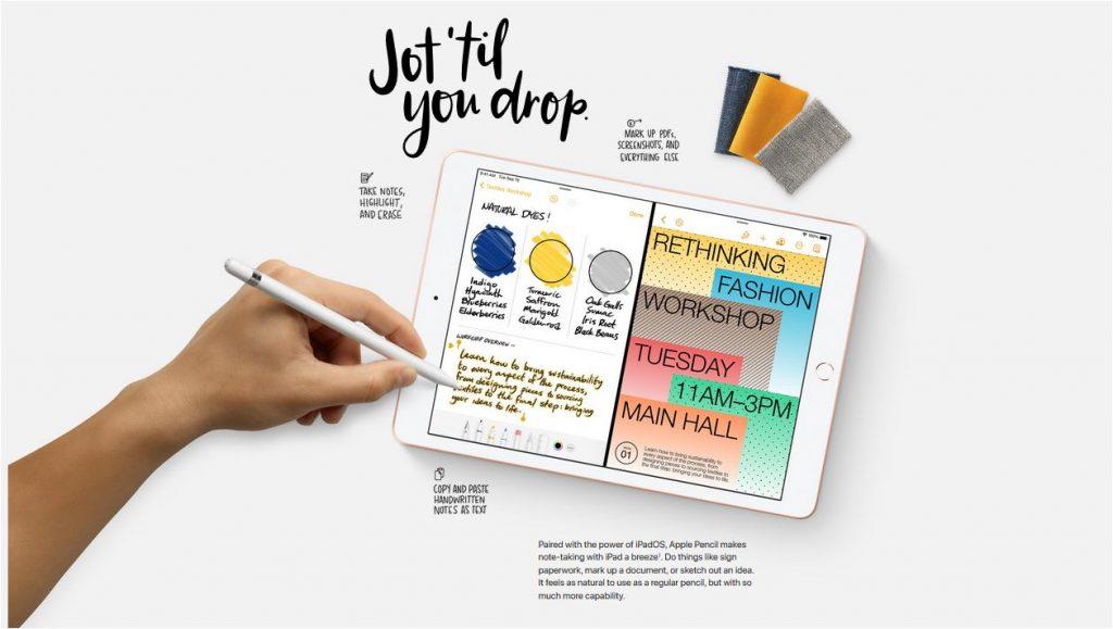 imagem do iPad 8 geração com ilustração de mão esquerda usando para desenhar e escolhendo paleta de cores