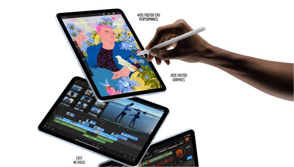imagem do iPad Air com ilustração de mão direita usando para fazer desenho