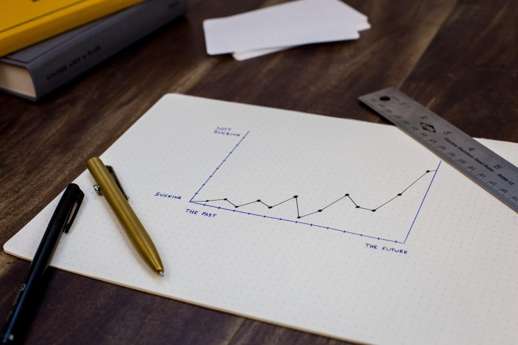 gráfico desenhado em papel quadriculado com caneta azul e régua.