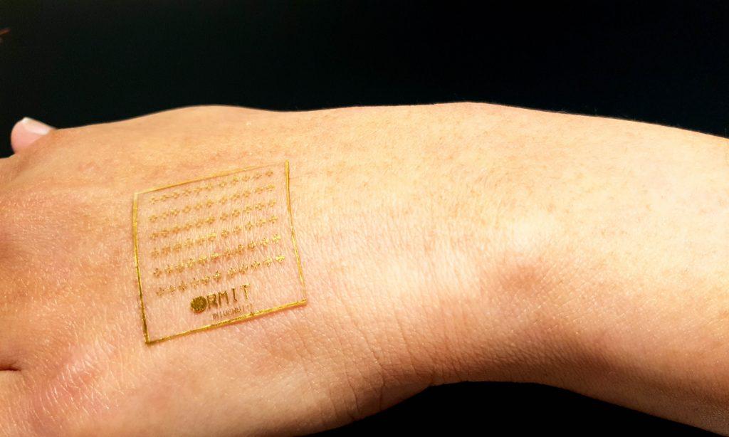 protótipo de pele eletrônica sensível em braço