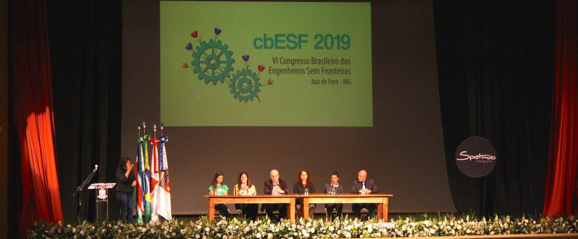 palco do Congresso dos Engenheiros Sem Fronteiras Brasil 2019, realizado em Juiz de Fora