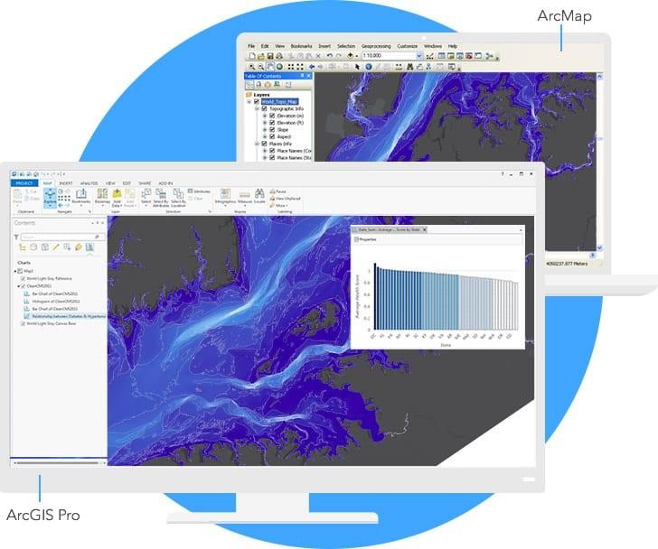 dois prints de tela do arcgis software