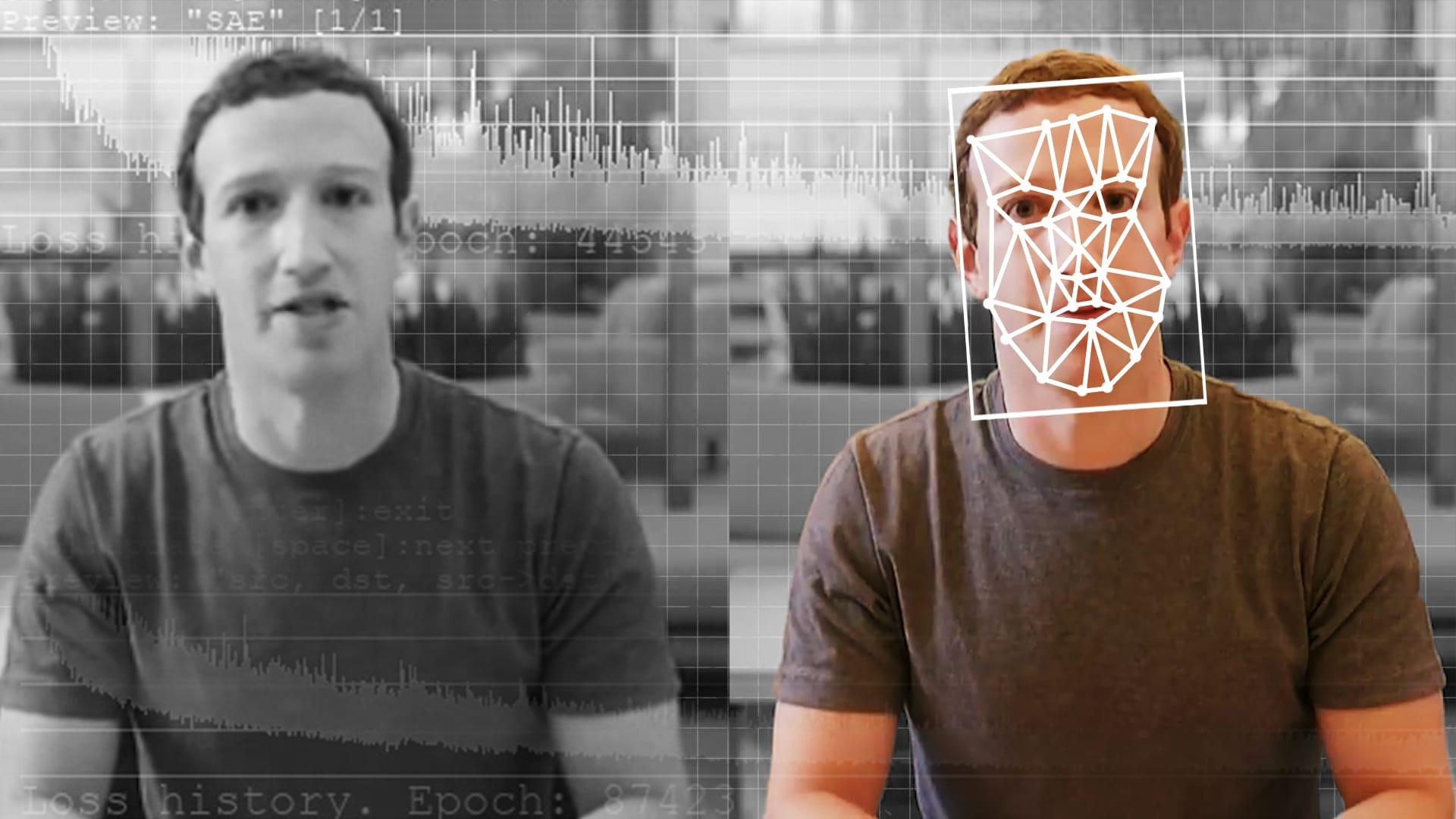 imagem de rosto do Zuckenberg sendo mapeado