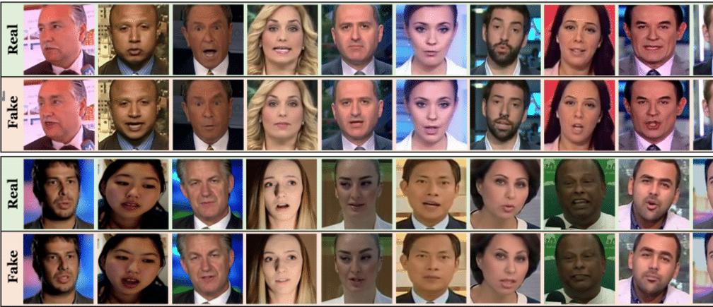 imagem de vários rostos representando deepfake, ilustração do que o FakeCatcher poderia identificar.