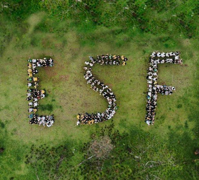 foto tirada de cima, em um gramado, com voluntários do Engenheiros Sem Fronteiras Brasil organizados formando as iniciais da ONG: ESF