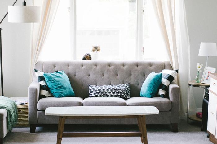Sala de estar com decoração em estilo escandinavo  - imagem ilustrativa de design de interiores