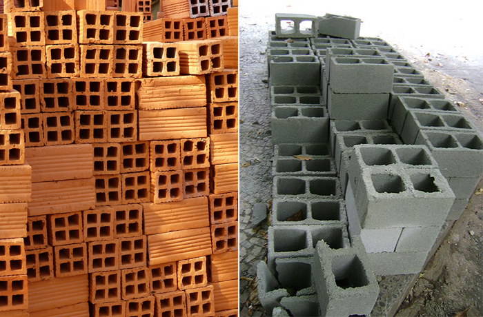 Blocos cerâmica e concreto