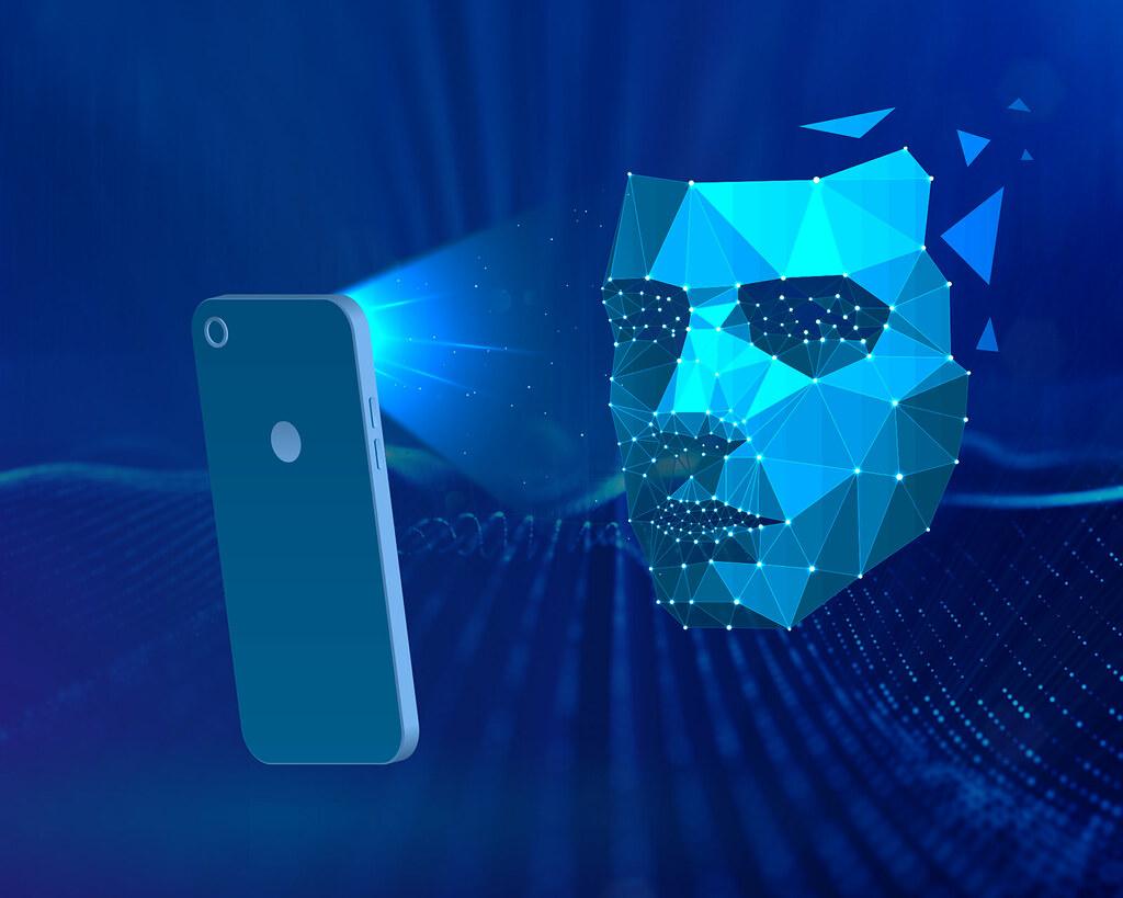 reconhecimento facial imagem ilustrativa de rosto digital escaneado via celular