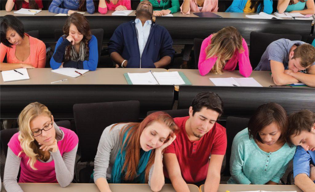 estudantes sentados em sala de aula. Imagem representando diferentes tipos de estudantes de engenharia