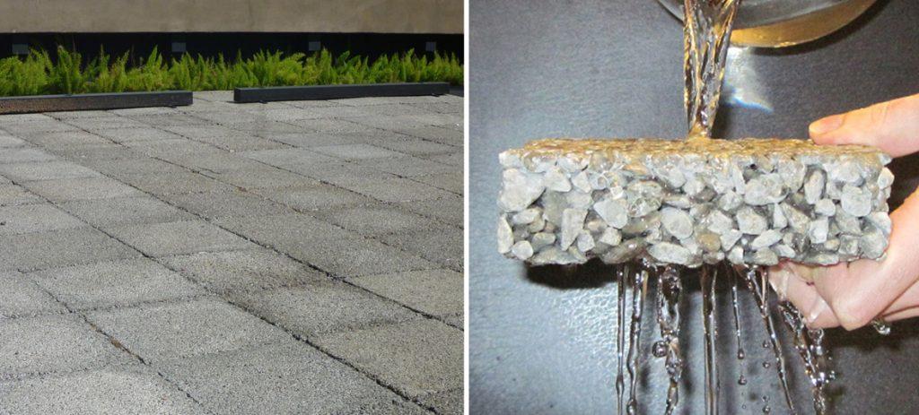 concreto permeável em duas imagens ilustrativas