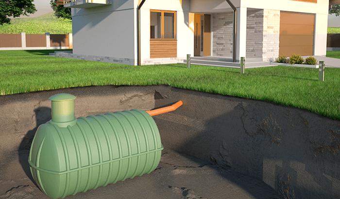 cisterna enterrada, ilustração em uma residência