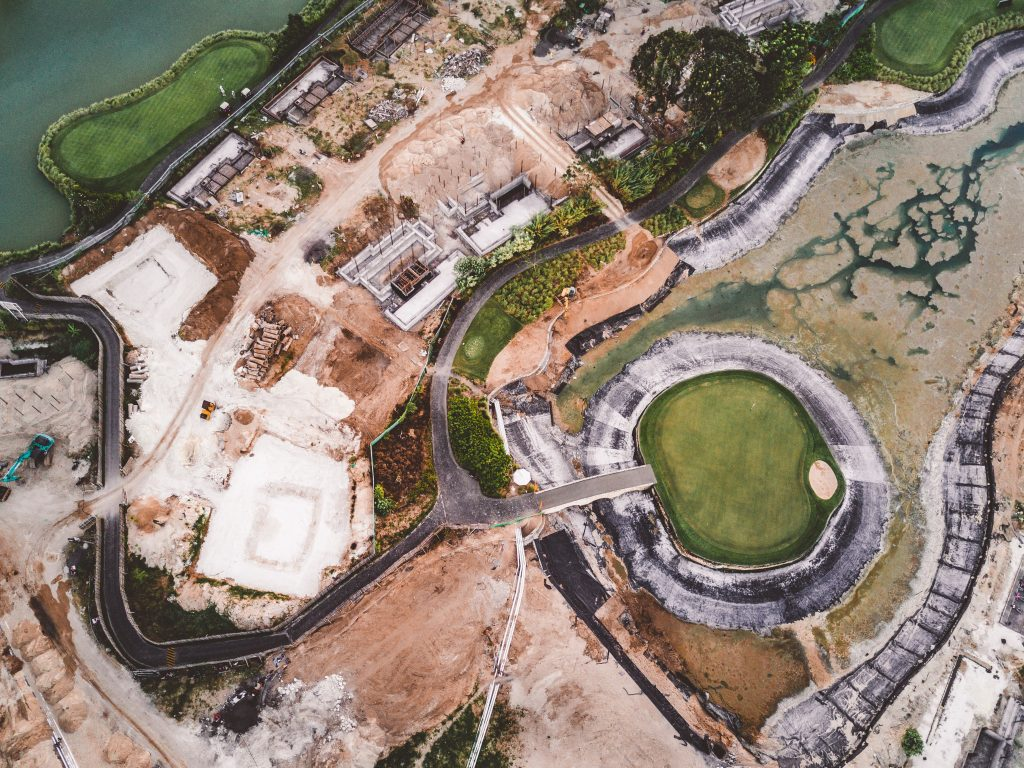 vista aérea de região com várias tipos de solo