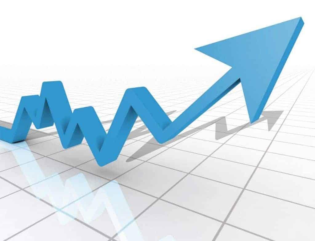 gráfico com seta indicando aumento