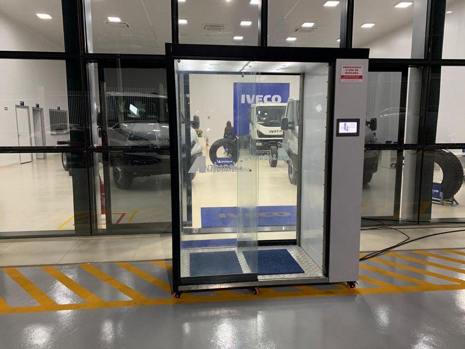 cabine de desinfecção criada pelo engenheiro civil Alaor Ferreira da Cruz Junior invenção covid
