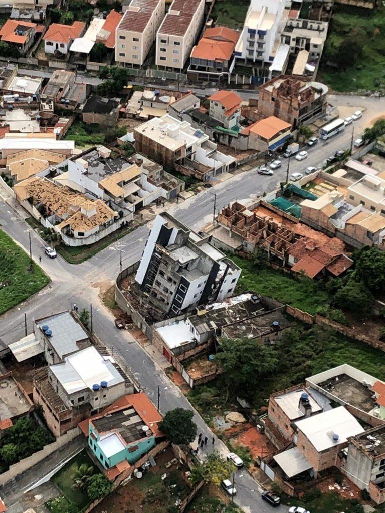 Vista aérea do prédio tombado em Betim (MG).