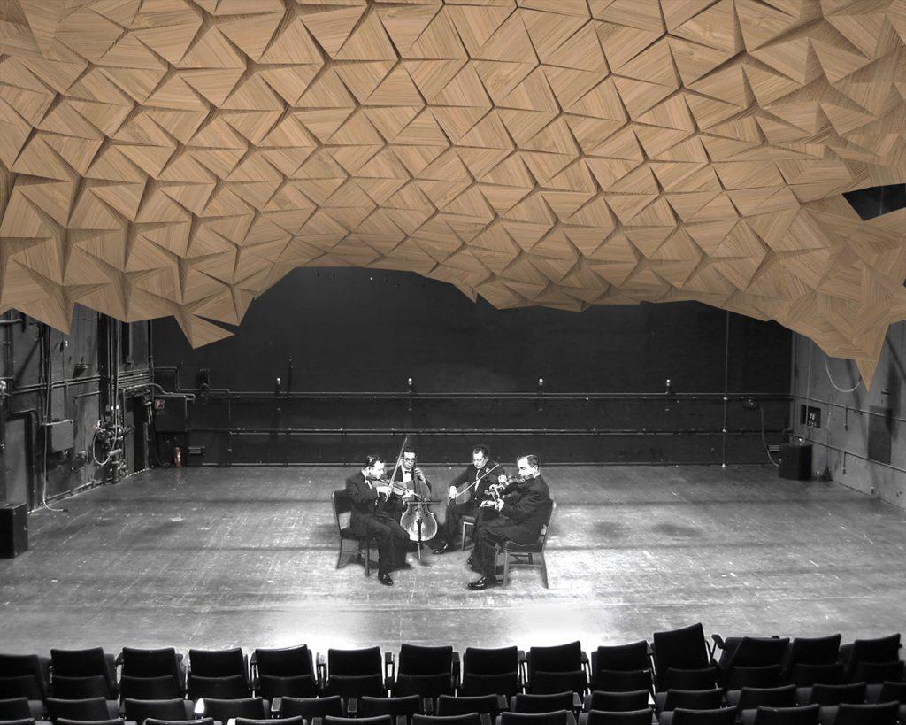 Interior edifício com cobertura origami