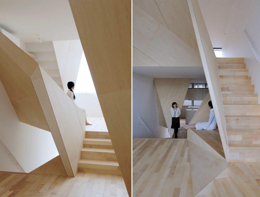 Interior edifício com design origami