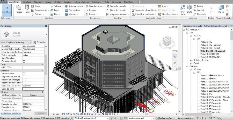 Área de trabalho Revit ilustrando softwares usados na engenharia civil