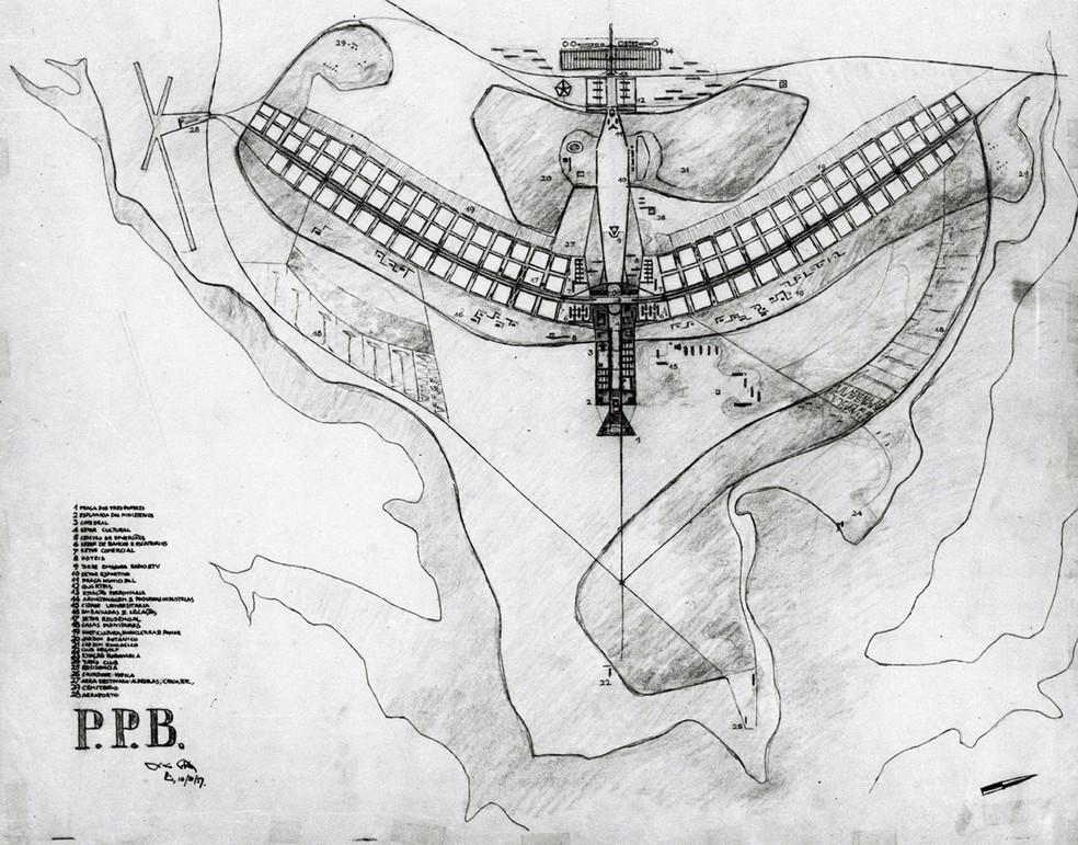 Esboço do Plano Piloto de Brasília — Foto: Arquivo Público do Distrito Federal/Fundo Novacap