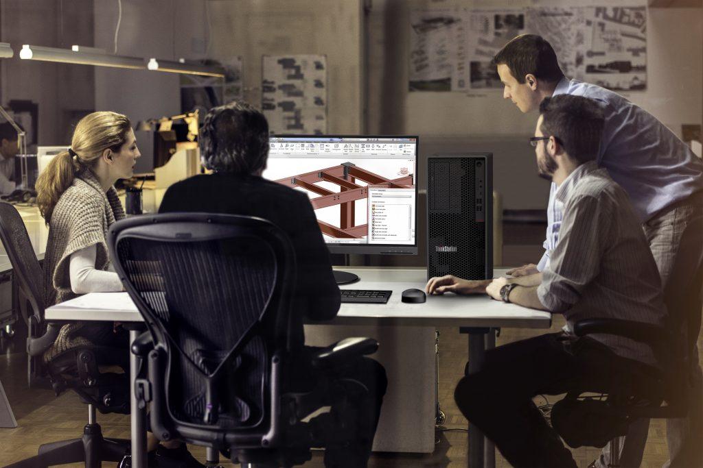 pessoas usando workstation lenovo thinkstation P340