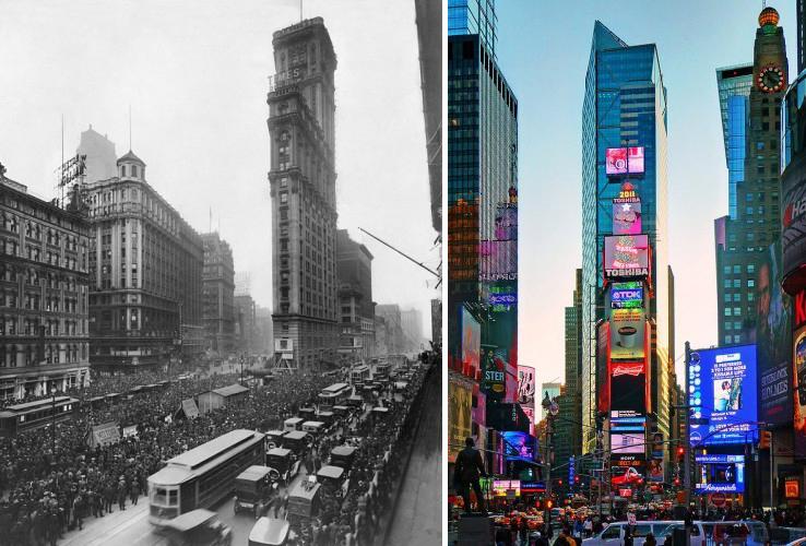 Antes e depois da Times Square, vista de 1919 e 2012, emNova York