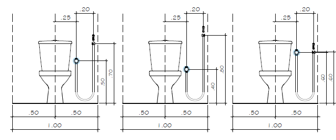 esquema de instalação de ducha higiênica