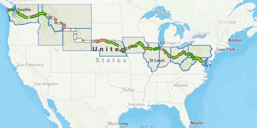 mapa com a rota da ciclovia