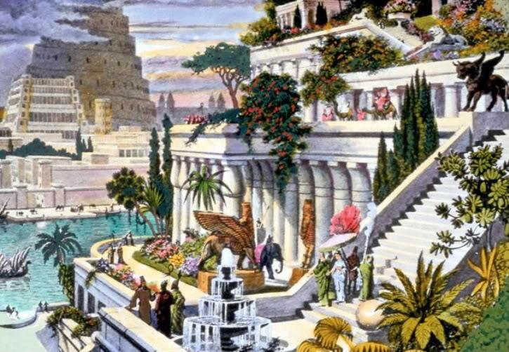 Ilustração representando os Jardins Suspensos da Babilônia, por Maarten van Heemskerck